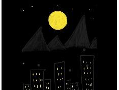도시위의 보름달