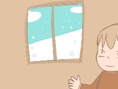 창 밖에 내리는 눈